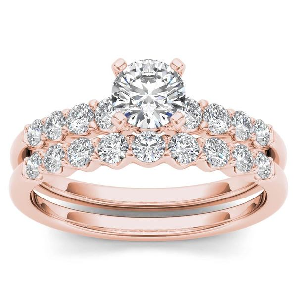 de couer 14k rose gold 1ct tdw diamond classic engagement ring set with one band - Pink Wedding Ring Set