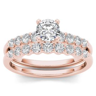 De Couer 14k Rose Gold 1ct TDW Diamond Classic Engagement Ring Set with One Band