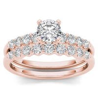 De Couer 14k Rose Gold 1ct TDW Diamond Classic Engagement Ring Set with One Band - Pink