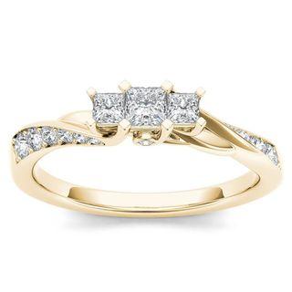 De Couer 10k Yellow Gold 1/2ct TDW Diamond Three-Stone Anniversary Ring