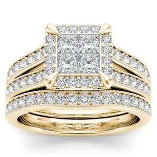 De Couer 14k Yellow Gold 1 1/2ct TDW Diamond Halo Engagement Ring Set with One Band