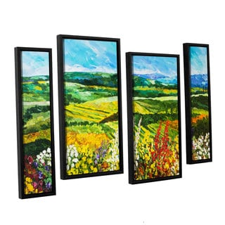 ArtWall Allan Friedlander 'Change Is In The Air' 4 Piece Floater Framed Canvas Staggered Set