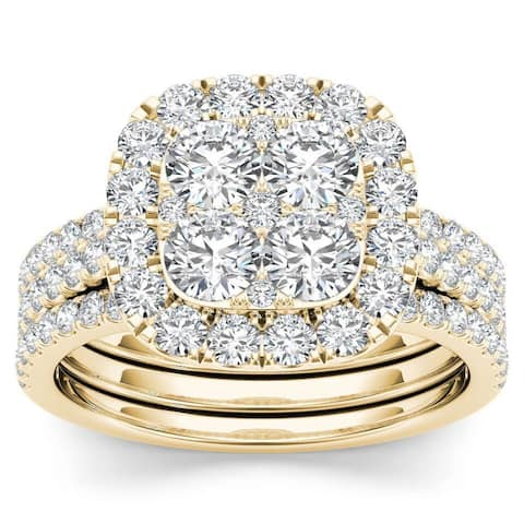 De Couer IGI Certified 14k Yellow Gold 2ct TDW Diamond Halo Engagement Ring Set with Two Bands