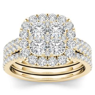 De Couer 14k Yellow Gold 2ct TDW Diamond Halo Engagement Ring Set with Two Bands