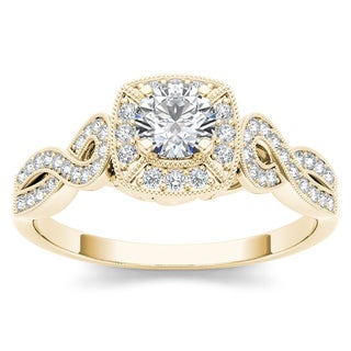 De Couer 14k Yellow Gold 1/2ct TDW Diamond Halo Engagement Ring