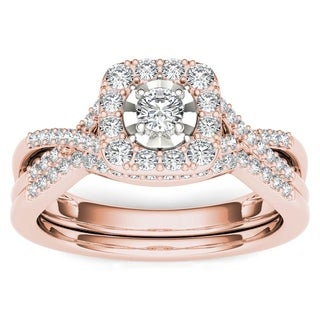 De Couer 10k Rose Gold 3/8ct TDW Diamond Halo Engagement Ring Set with One Band (H-I, I2)