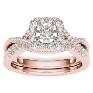 De Couer 10k Rose Gold 2/5ct TDW Diamond Halo Engagement Ring Set with One Band - Pink