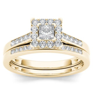 De Couer 10k Yellow Gold 1/2ct TDW Diamond Halo Engagement Ring Set with One Band
