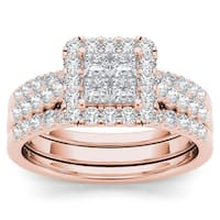 De Couer 14k Rose Gold 1 1/4ct TDW Diamond Halo Engagement Ring Set with Two Bands - Pink