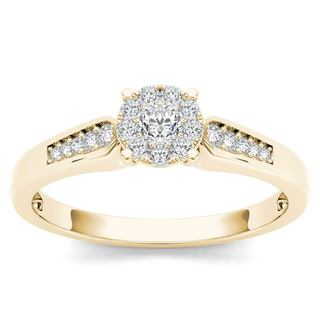 De Couer 10k Yellow Gold 1/4ct TDW Diamond Cluster Engagement Ring