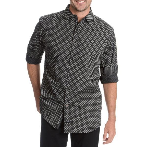 6d75a796fc Shop English Laundry Men's Black Medallion Print Dress Shirt - Free ...