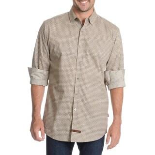 English Laundry Men's Abstract Striped Tile Print Dress Shirt