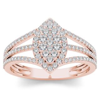 De Couer 10k Rose Gold 1/2ct TDW Diamond Marquise-Framed Cluster Engagement Ring (H-I, I2)