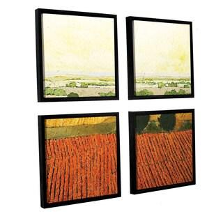 ArtWall Allan Friedlander 'After Harvest' 4 Piece Floater Framed Canvas Square Set