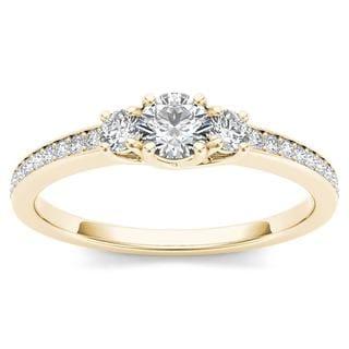 De Couer 14k Yellow Gold 1/2ct TDW Diamond Three-Stone Anniversary Ring (H-I, I2