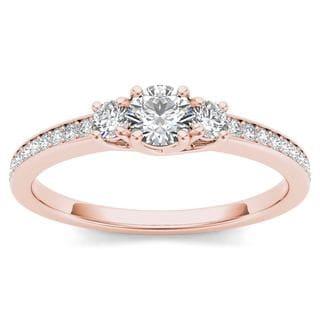 De Couer 14k Rose Gold 1/2ct TDW Diamond Three-Stone Anniversary Ring