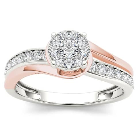 De Couer IGI Certified 10k Pink Two-Tone White Gold 3/8ct TDW Diamond Bypass Cluster Engagement Ring