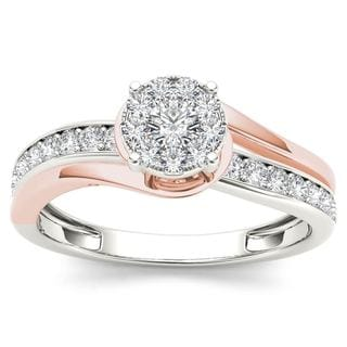 Link to De Couer  IGI Certified 10k Pink Two-Tone White Gold 3/8ct TDW Diamond Bypass Cluster Engagement Ring Similar Items in Wedding Rings