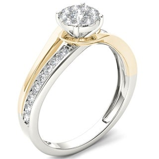 De Couer 10k Yellow Two-Tone White Gold 3/8ct TDW Diamond Bypass Cluster Engagement Ring (H-I, I2)
