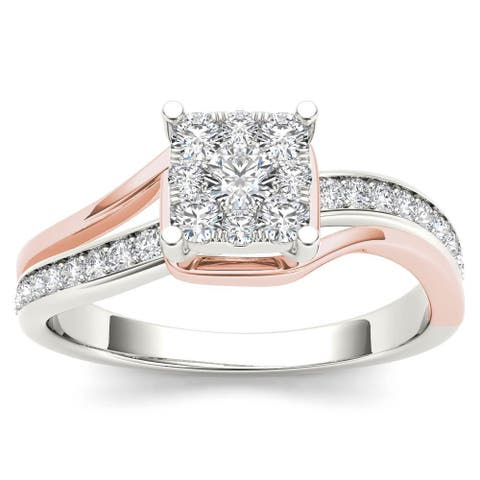 De Couer IGI Certified 10k Pink Two-Tone White Gold 1/2ct TDW Diamond Bypass Cluster Engagement Ring