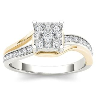 De Couer 10k Yellow Two-Tone White Gold 1/2ct TDW Diamond Bypass Cluster Engagement Ring