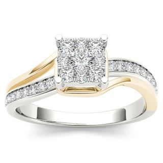 De Couer 10k Yellow Two-Tone White Gold 1/2ct TDW Diamond Bypass Cluster Engagement Ring (H-I, I2)