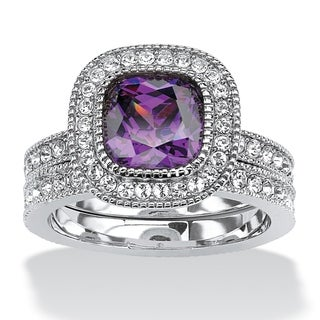 1.70 TCW Cushion-Cut Purple Cubic Zirconia Two-Piece Halo Bridal Set in Silvertone Color F