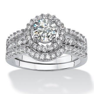 1.54 TCW Round Cubic Zirconia 2-Pc. Halo Bridal Ring Set in Platinum over Sterling Silver