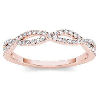 De Couer  IGI Certified 10k Rose Gold 1/6ct TDW Diamond Criss-Cross Ring - Pink