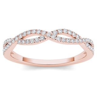 De Couer 10k Rose Gold 1/6ct TDW Diamond Criss-Cross Ring - Pink