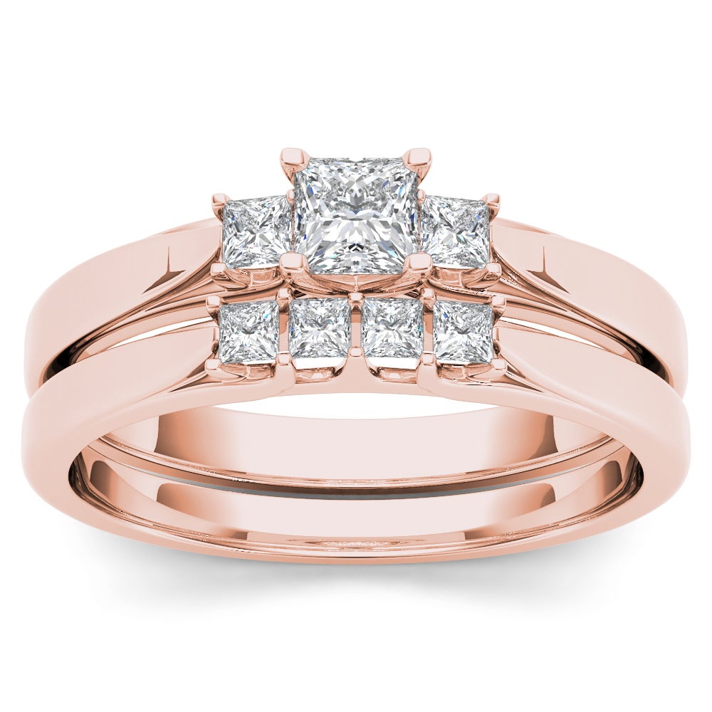 De Couer 14k Rose Gold 1/2ct TDW Diamond Three-Stone Enga...