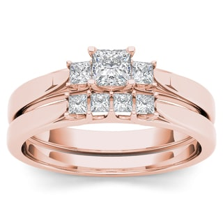 De Couer 14k Rose Gold 1/2ct TDW Diamond Three-Stone Engagement Ring Set with One Band