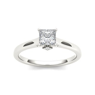 De Couer 14k White Gold 3/4ct TDW Classic Princess-Cut Diamond Engagement Ring - White H-I