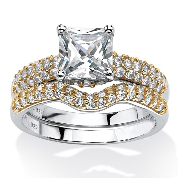 1.95 TCW Princess-Cut Cubic Zirconia Bridal Set. 14k Gold Over Sterling Silver. Classic CZ