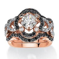 2.97 TCW Princess-Cut Cubic Zirconia Three-Piece Halo Bridal Ring Set in Rose Gold-Plated