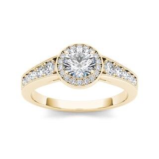 De Couer 14k Yellow Gold 1ct TDW Diamond Halo Engagement Ring