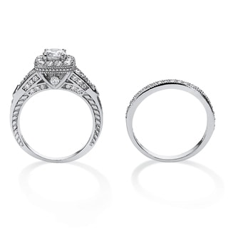 1.78 TCW Round Cubic Zirconia Two-Piece Halo Bridal Set in Platinum Over .925 Sterling Sil
