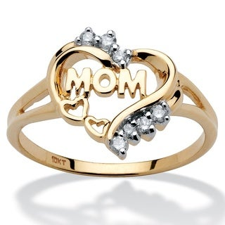 10k Yellow Gold 1/10ct TDW Diamond 'Mom' Heart Ring (H-I, I2-I3) - White