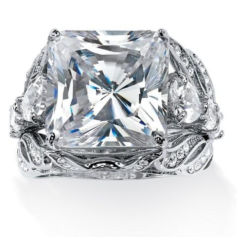 Platinum-plated Cubic Zirconia Bridal Ring Set - White