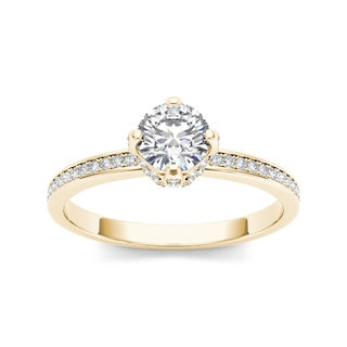 De Couer 14k Yellow Gold 1ct TDW Diamond Classic Engagement Ring