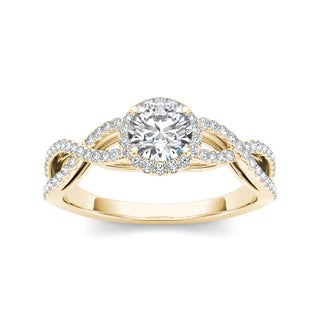 De Couer 14k Yellow Gold 3/4ct TDW Diamond Halo Engagement Ring