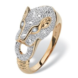 18k Yellow Gold over Sterling Silver Round Pave Diamond Accent Panther Ring - White