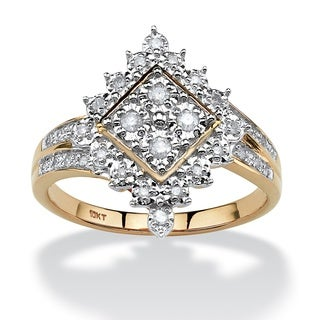 10k Yellow Gold 1/4ct TDW Round Diamond Geometric Ring (H-I, I2-I3)