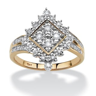 10k Yellow Gold 1/4ct TDW Round Diamond Geometric Ring (H-I, I2-I3) - White