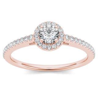 De Couer 14k Rose Gold 1/2ct TDW Diamond Halo Engagement Ring - Pink