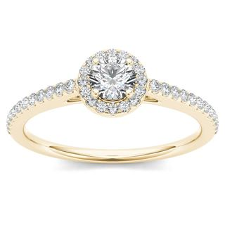 De Couer IGI Certified 14k Yellow Gold 1 2ct TDW Diamond Halo Engagement Ring
