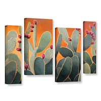 ArtWall Rick Kersten 'Cactus Orange' 4 Piece Gallery-wrapped Canvas Staggered Set - Multi