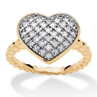 18k Yellow Gold over Sterling Silver 1/4ct TDW Diamond Puffed Heart Ring Set - White