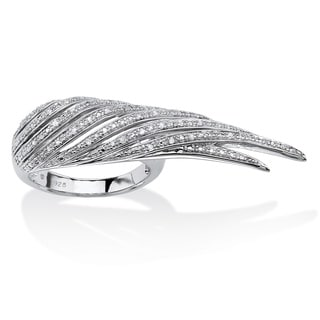 PalmBeach Platinum over Sterling Silver Diamond Accent Wing Ring
