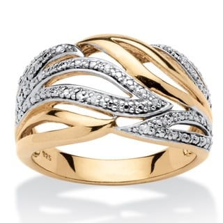 18k Yellow Gold over Sterling Silver Diamond Accent Cocktail Ring